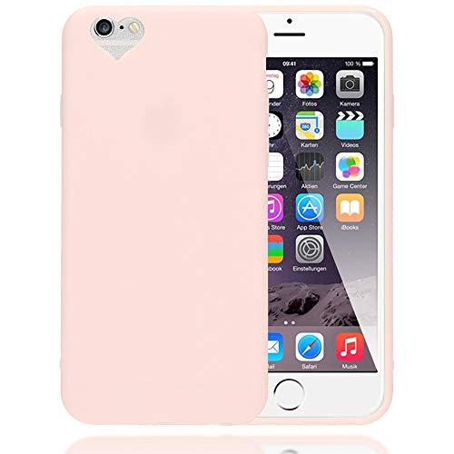 NALIA Herz Handyhülle kompatibel mit iPhone 6 6S, Silikon Case Schutz-Hülle Gummihülle, Soft Slim Cover Etui Dünne Handy-Tasche, Ultra-Slim Smart-Phone Back-Cover Skin Bumper, Farbe:Rosa