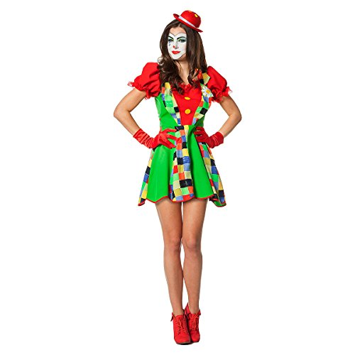 Clown Kostüme Erwachsene Plus (Kostümplanet® Clown-Kostüm Damen witziges Clown Mini Kleid sexy Faschingskostüm Größe)