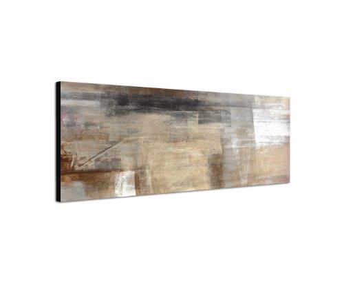 Abstraktes Wandbild beige rötlich altrosa 150x50cm Panorama Wandbild auf Leinwand und Keilrahmen...