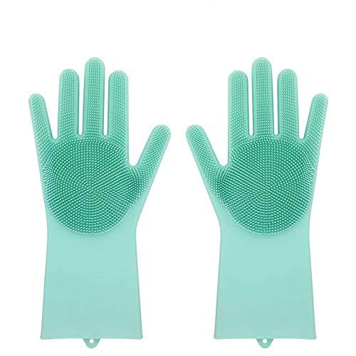 Borlai Magische Silikongummi-Geschirrwaschhandschuhe Umweltfreundlicher Wäscher-Reinigungsschwamm (Color : Green)