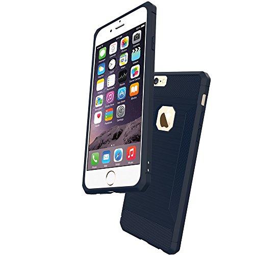 Silicone Cover per iPhone 6 / iPhone 6S, Vectady Custodia Cover in Silicone TPU Matte Protettiva Antiurto Caso Gomma Morbida Completa Flessibile Skin Elegante Antiscivolo Protezione Case Custodia per  Blu Scuro Carbonio