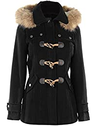 Kangol Ladies Stylish Winter Classic Full Zip Duffle Coat (Black, 14(L))