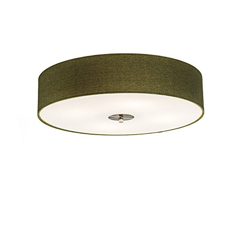 QAZQA Landhaus/Vintage/Rustikal/Modern Deckenleuchte/Deckenlampe/Lampe/Leuchte Drum mit Schirm 50 Jute grün/ 4-flammig/Innenbeleuchtung/Wohnzimmerlampe/Schlafzimmer/Küche Glas/Meta