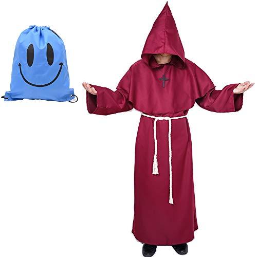 Robe Kostüm Rot Hooded - Mönch Robe Kostüm Mönch Priester Gewand Kostüm mit Kapuze Mittelalterliche Kapuze Herren Mönchskutte (Medium, Rot)