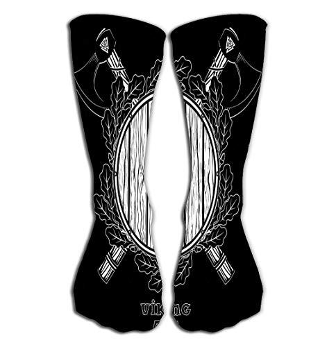 Adigao Hohe Socken Outdoor Sports Men Women High Socks Stocking Two ed Battle Viking Axes Shield Wreath Oak Leaves Isolated Black Tile Length 19.7