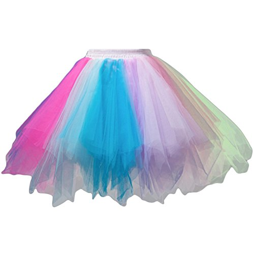 Tutu Damenrock 80er Jahre Neon Tütü Damen Rock Tüllrock Petticoat Pettiskirt 50er Vintage Tutu Kurze Ballet Rock Tanzkleid Unterrock Unterkleid Pink für Frauen Erwachsene 1980s Fancy Dress (whiteblue)