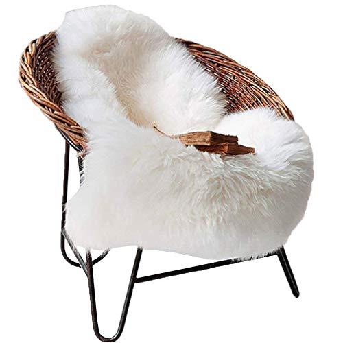 Spitzenqualität Lammfellimitat Teppich, 60 x 90 cm Lammfellimitat Teppich Longhair Fell Nachahmung Wolle Bettvorleger Sofa Matte (Weiß) -