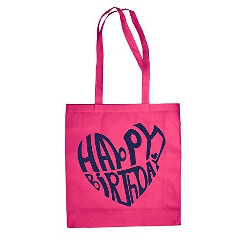 Buon Compleanno Design - Borsa In Juta Borsa Di Cotone Fucsia-blu Scuro