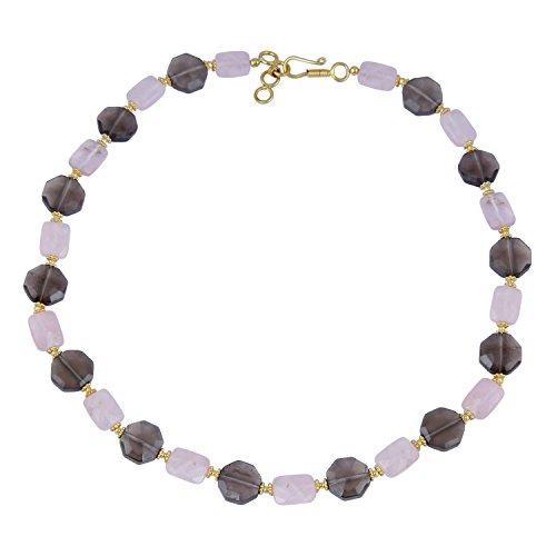 Pearlz Ocean Tempting Faceted Octagon, Faceted Rectangle Shaped Smoky Quartz, Rose Quartz Gem Stone Beads Necklace For Women