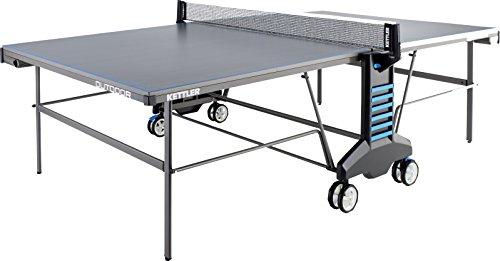 Kettler Tischtennisplatte Outdoor 4 mit Netz | Wetterfest, Höhenverstellbar, Alu-Tec Verbundplatte, Kantenschoner | Klapp & Rollbar | 183x68x165 cm | 65 kg | Grau-Blau