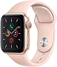 Apple MWV72LL/A 5.12 Watch Series 5 (GPS, 40mm) Gold Aluminium Case with Pink Sand Sport Band - (Pack of1)