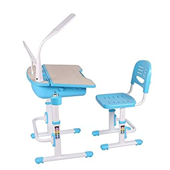 Chlildren's Kids Study Deluxe Functional School Desk with Chair High Quality by Leomark, Table Blue for Junior Girls Boys with Lamp and Bookstand.