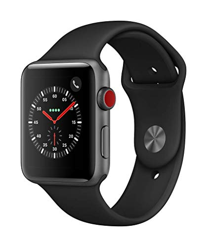 Apple Watch Series 3 (GPS + Cellular) 42 mm Aluminiumgehäuse, Space Grau, mit Sportarmband, Schwarz