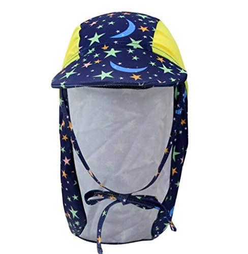 QIAO,Mütze für Kinder, Halsschutz, UV -Schutz, Sonnenschutz, Tauchhut, etwa 51cm, geeignet für 2-15 Jahre alt (Krawatte Schwimmer)
