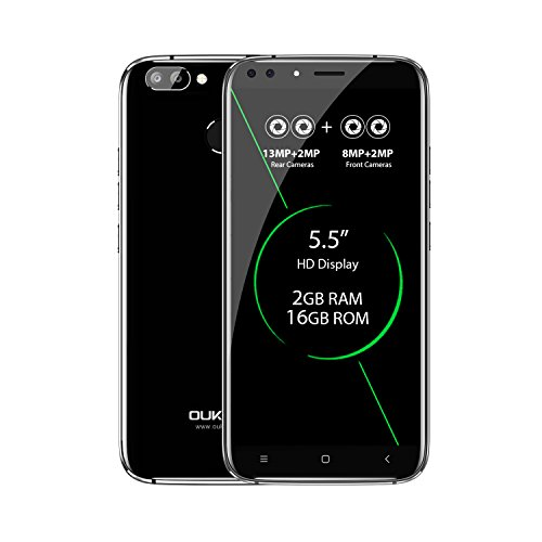 OUKITEL U22 - 5,5 Zoll 3G Smartphone, Android 7.0 Quad Core 2GB+16GB, 4 Kameras, Hinten 13.0MP+2.0MP, Front 8.0MP+2.0MP, Dual SIM, Entriegelte Handy, Schwarz