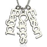 TWinkle Personalizado Grabado Collar de Nombre para el día Importante,con un máximo de 5 Nombres Personalizados(Plata-16)