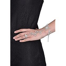 FemNmas Crystal Rhinestone Silver Ring Chain Bracelet For Women