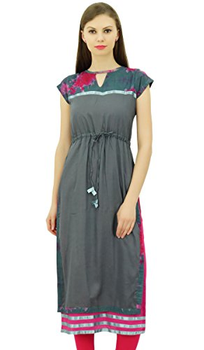 Double-layer Tunika (Bimba Damen Indian Kurti mit Flügelärmeln Double Layer Gerade Kurta mit Tunnelzug)