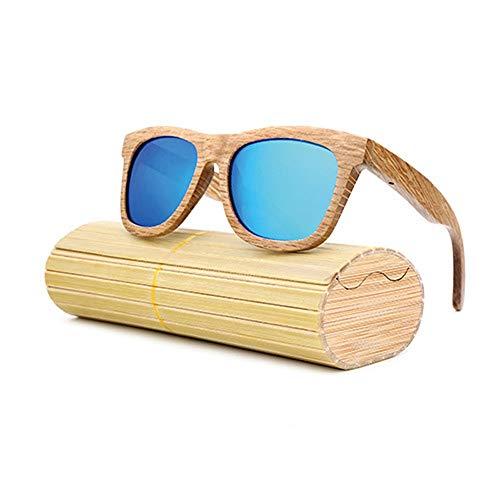 Easy Go Shopping Polarisierte Brille für männer und Frauen Vintage echte Bambus Arme Brille Retro Bambus Holz Sonnenbrille Sonnenbrillen und Flacher Spiegel (Color : Blau, Size : Kostenlos)