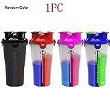 Neue Innovative Dual Threat Shaker Flasche, 850ml Shaker Cup für Protien (zufällige Farben)