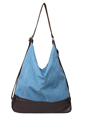 Tiny Chou Vintage da donna, in tela, stile pescatore in pelle Borsa a tracolla, borsa a tracolla da viaggio, grande Blu (blu)