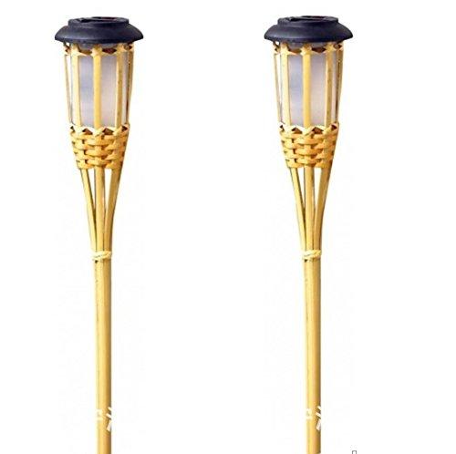 MOOMASS Garten Rasen Licht/Solar Taschenlampe/Bambus Vorbereitung Fackel Licht/Fackel Stil Licht/intelligente Lichtsteuerung Gras Lampe/Bambus-Finish