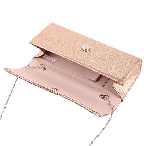 Damara® Damen Einfarbige Glattleder Kettentasche Mit Crystal Silber