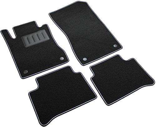ilTappetoAuto Sprint02907 Rutschfeste Auto-Fußmatten Schwarz, Bordüre schwarz mit grauen Streifen Absatzschoner aus Gummi Fahrerseite