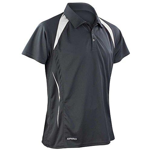 Spiro Mens Colours Sports Team Training Spirit Short Sleeve Polo Shirt Black/White
