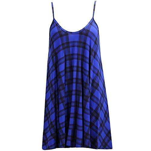 haute pour DIVA 's neuf femme dame sans manches à lanières ÉVASÉ IMPRIMÉ UNI CARACO SWING Skater robe été UK 8-26 Tartan Bleu
