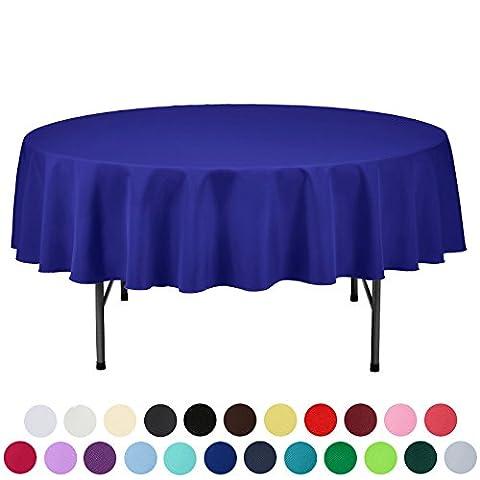 Veeyoo Tischdecke, rund, rechteckig, robust, Polyester, Textil, königsblau, Round-178 cm (Königsblau Tischdecke)