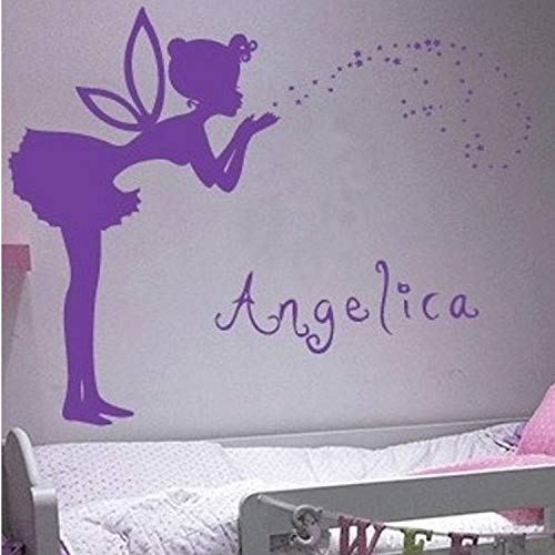 sonalized Name Girl Blow Stars Bubble Wing Fairy Stars Wall Decal Sticker Wallpaper for Baby Kids Room ()