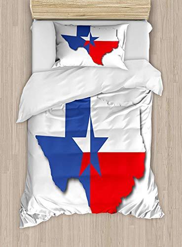 Texas Star - Twin-Size-Bettbezug-Set, Umriss der Texas-Karte Amerikanischer Südwesten von Austin Houston City, dekoratives 2-teiliges Bettwäscheset mit 1 Kopfkissenbezug, Vermilion White Violet Blue