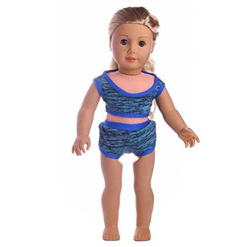 Girl-puppen Elsa American (Minshao Handgemachte Kleidung Bademode 18 Zoll American Girl Doll Badeanzug Geschenke (Blau))