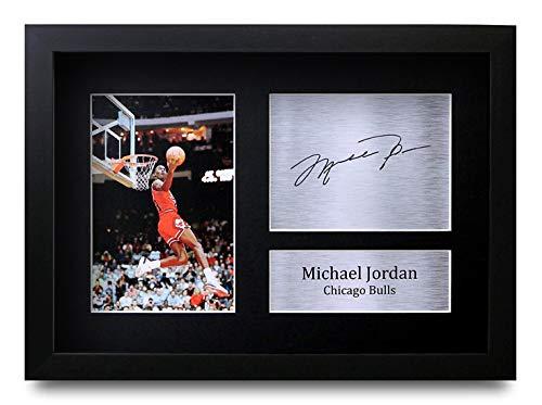 HWC Trading Michael Jordan (GERAHMTES) Geschenke Unterzeichneten A4 Gedrucktes Autogramm Chicago Bulls Foto-Anzeige