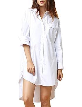 Auxo Mujer Blusas de Vestidos Blancos Tops Manga Larga V Cuello Camisa Algodón Elegante