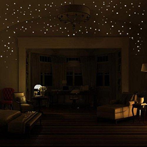HCFKJ 2017 Mode 407Pcs GlüHen In Den Dunklen Stern Wand Aufkleber Runder Punkt-Leuchtendes Kind Raum Dekor