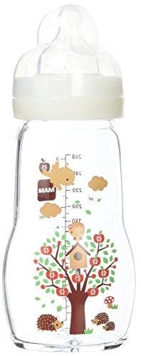 MAM Biberon Verre - 260ml - 0+ mois - Tétine Débit 2 - Blanc
