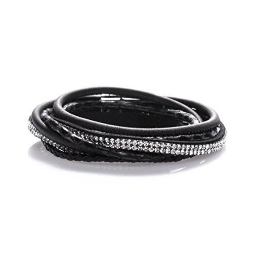 StarAppeal Armband Wickelarmband mit Strass und Flechtelement, Magnetverschluss Silber Glanz, Damen Armband