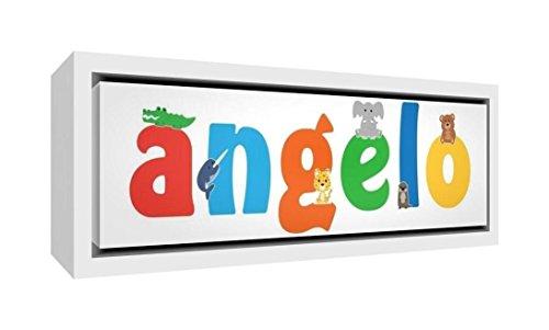 Little helper lhv-angelo-1542-fcwht-15it stampa su tela incorniciata legno bianco, disegno personalizzabile con nome da ragazzi angelo, multicolore, 19 x 46 x 3 cm