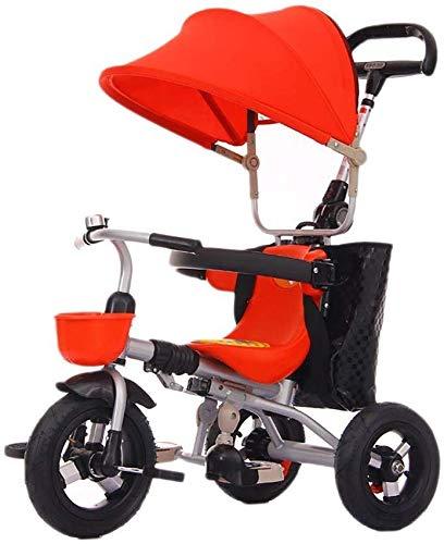 WLD Bambini 'S Training Vehicle Bambini' S Triciclo Bambini Giocattolo Passeggino Baby Bike Light Passeggino Pieghevole Triciclo per bambini Ragazzo Ragazza Regalo di compleanno,Rosso