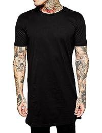 Y.W.F Hipster Men Hip Hop Long Tshirt with Zipper Arc Hem Black and White Shirtt for Men