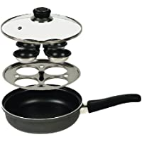 Swift Dexam - Olla con accesorio para cocer huevos (incluye tapa de cristal y asas, 22 x 5 cm), color negro