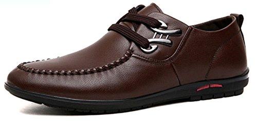 DADAWEN Hommes Cuir à Lacets Commercial Leather Chaussure Marron