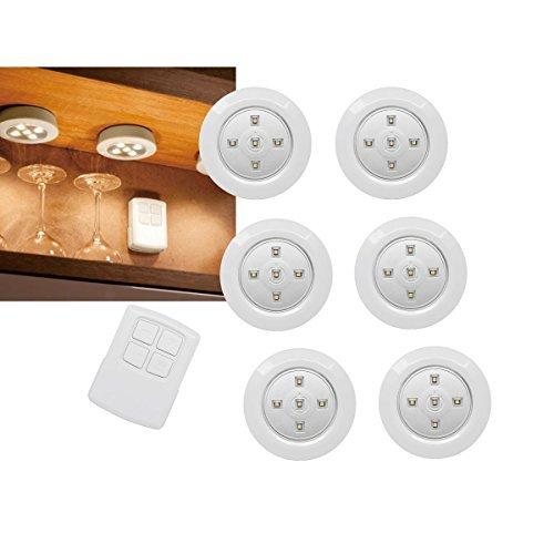 Batterie-leuchten (7 er Set Unterbauleuchten LED mit Fernbedienung warmweiß 100 ° Abstrahlwinkel | 6 Batterie betriebene LED Leuchten je 5 Power LED | Montage wahlweise Verschraubung oder mit selbstklebendem Klebeband)