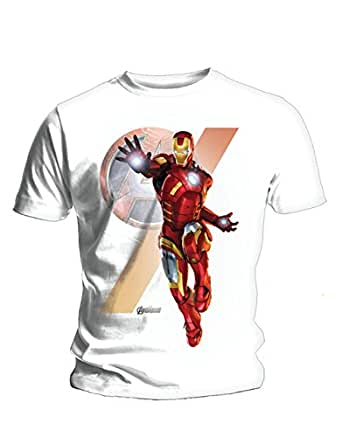 """Avengers T-Shirt, Mens Officially Licensed Insignia Iron Man White, Small, Chest 34 - 36"""""""
