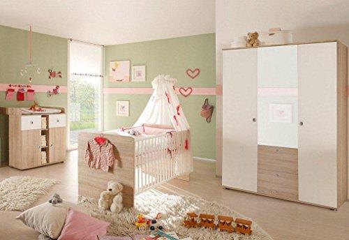 Babyzimmer WIKI 5 in Eiche Sonoma / Weiß - 3-tlg Babymöbel komplett Set mit grossem Schrank mit Spiegeltür, Babybett, Lattenrost und Wickelkommode mit Wickelaufsatz