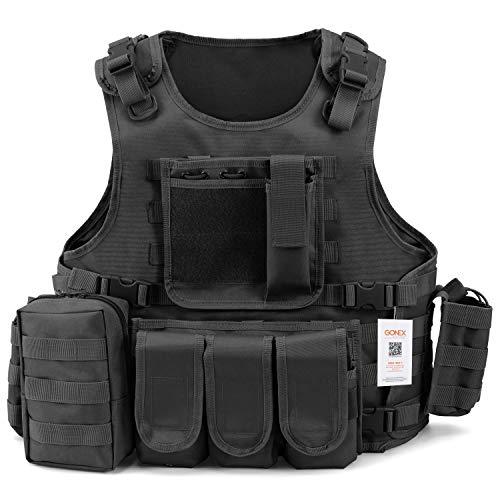 Gonex Gilet Tactique Militaire Gilet de Combat Veste Extérieure pour Airsoft Jeu CS Militaire Cosplay Noir