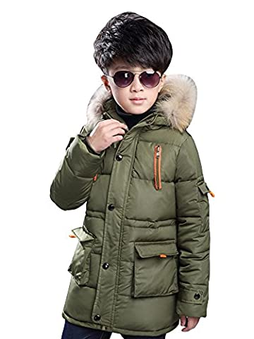 Big Boy's Winter Cotton Thick Hooded Parka Outwear Coat with Faux Fur Trim Army Green Tag 140-55