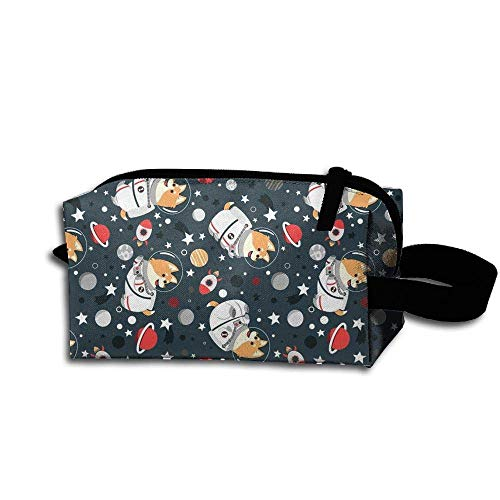 Novelty Travel Makeup Pouch Funny Space Corgi Cosmetic Pouch Pencil Case Accessory Toiletry Bag Storage Bag (Wars Corgi Star)